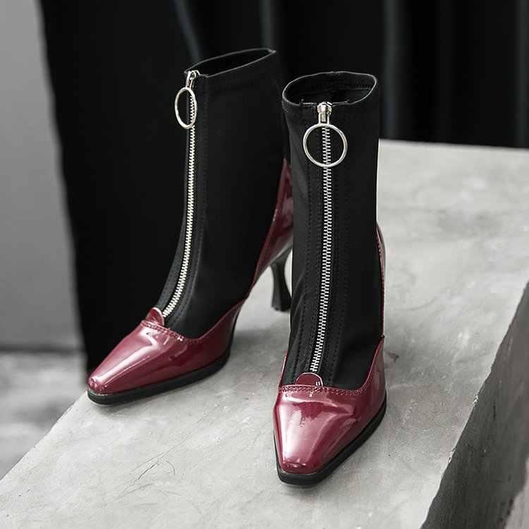 Новые женские носки, сапоги с острым носком, эластичные, на высоком каблуке, на молнии, без шнуровки, на шпильке, Botas Mujer, женские высокие сапоги, zapatos mujer, Y34