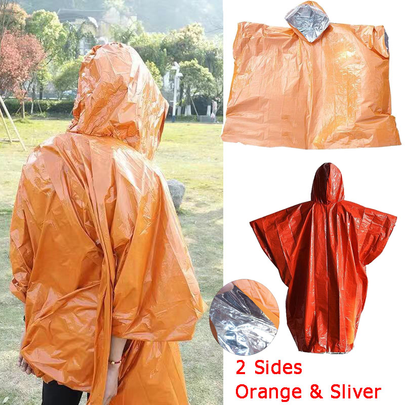 Outdoor Life Bivy Emergency Raincoat Thermal Keep Warm Waterproof Mylar First Aid Emergency Blanket Poncho For Survival Kit