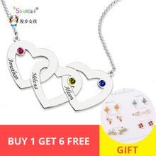 StrollGirl 925 Silver personalized Family Necklace Custom Engraved Name Intertwined Hearts Birthstone Pendant Necklaces