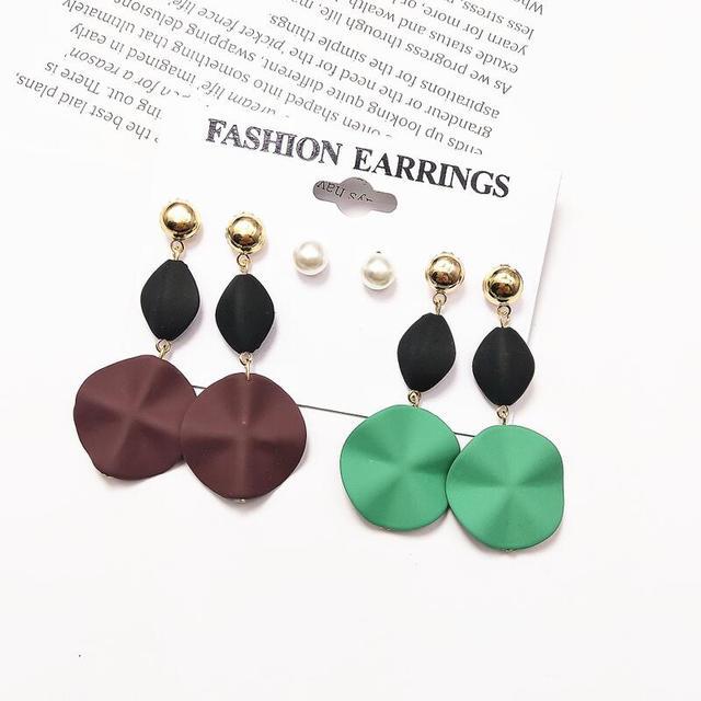 Vintage Drop Dangle Earrings Industrial Metal and Clear Glass Geometric Dangle Earrings Vintage Jewelry