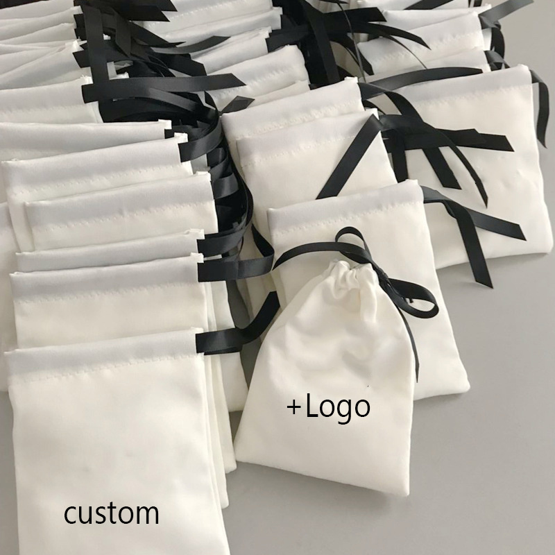Satin Bag for Hair Silk Drawstring Pouch Packaging Jewelry Cosmetic Party Gift Wrapping Luxury Reusable Sachet Print Logo 100PCS