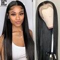 Бразильский прямой парик на сетке спереди, предварительно выщипанные Детские волосы, Remy, человеческие волосы, парики для женщин, плотность ...