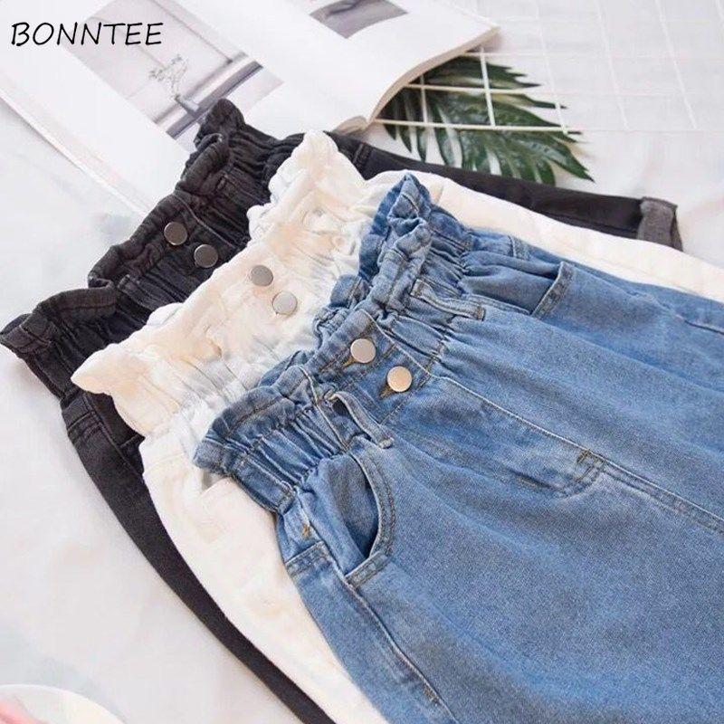Shorts Women New Oversize Summer Chic Korean Loose All-match High Elastic Waist Girls Short Solid Blue Trendy Button Casual 5XL