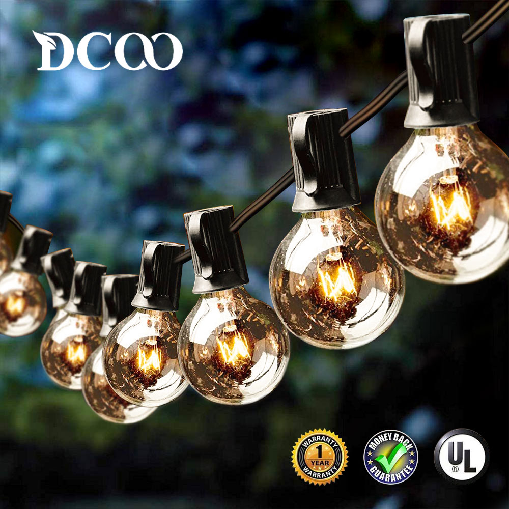 DCOO G40 Globe Bulbs String Lights With 25/50/100 Clear Bulbs 25FT Backyard Patio Lights For Indoor/Outdoor Party Wedding Garden