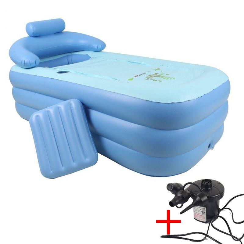160*82*64 centímetros Azul Tamanho Grande PVC Portátil Dobrável Banheira Inflável Banheira Para Adultos Com Bomba de Ar SPA Doméstico InflatableTub