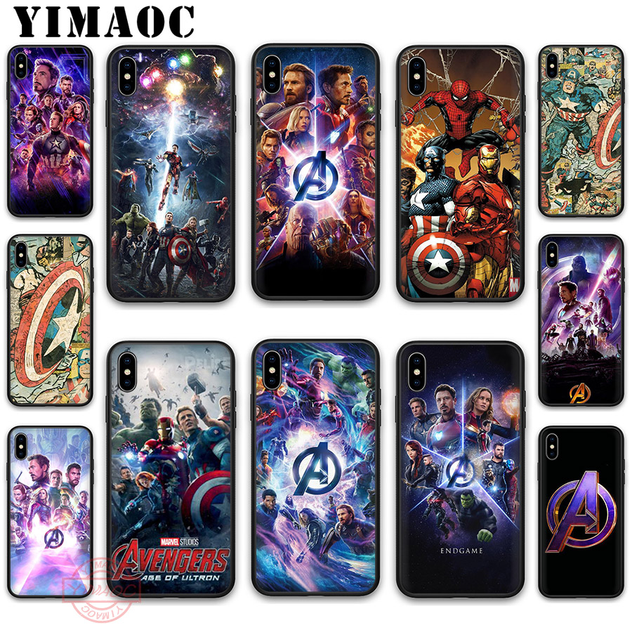 YIMAOC Avengers Iron Man Captain America Soft Silicone Case for iPhone XR X XS Max 8 7 6S 6 Plus 5S SE TPU Cover in Fitted Cases from Cellphones Telecommunications