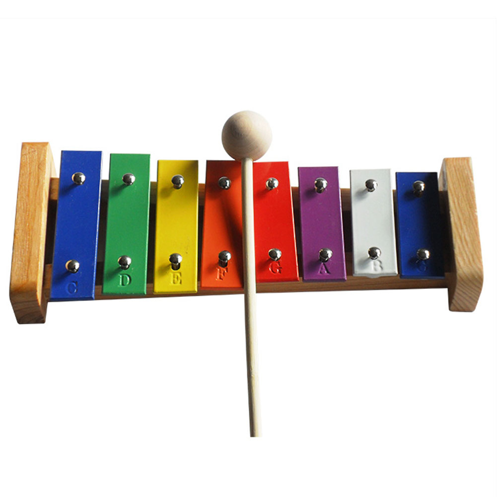 8 Tones  Instrument Wooden Interest Cultivate Aluminum Keys Musical Toy Gift With Mallet Baby Kids Xylophone