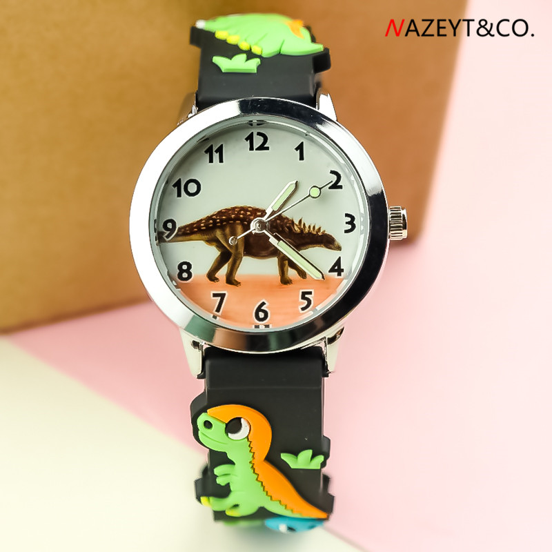 Boys Watch Dinosaur Face Little Children 3D Cartoon Quartz Wristwatch Student Luminous Hands Silicone Gift Clock