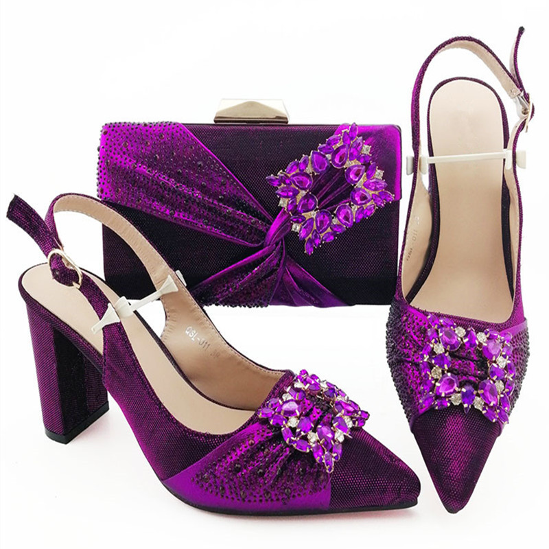 Italian Silver Ladies Shoes And Bags To Match Set Decorated With Rhinestone African Women Shoes Bags Set Party Wedding YD-L011