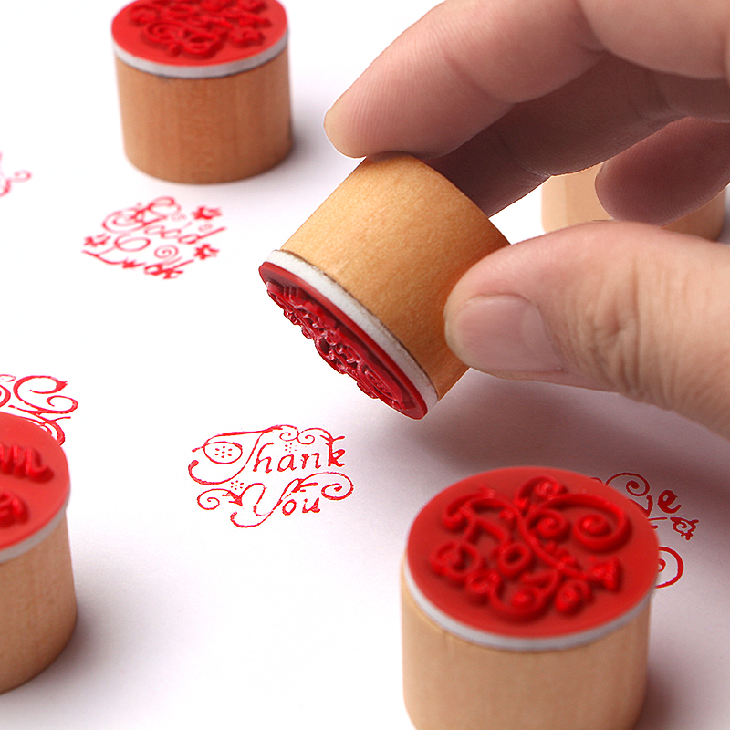 1pcDIY Wood Rubber Retro Stamp Handmade Letter Stamp Scrapbook Cards Decor Words Thank You/For You Blessing Greeting Words