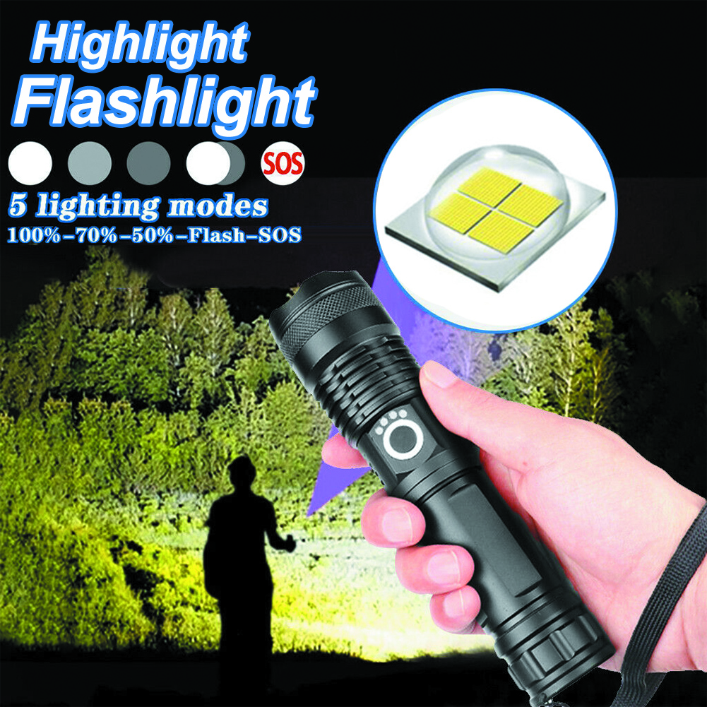 Flashlight Rechargeable 100000 Lumens XHP50 5 Mode LED USB Rechargeable 18650 26650 Flashlight Led Torch For Hiking and camping