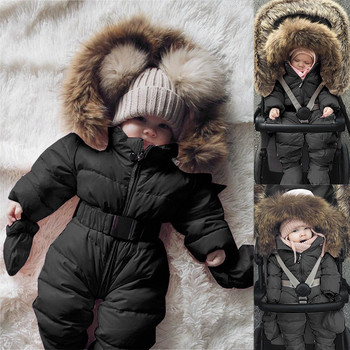 Winter Warm Windproof Newborn Baby Boy Girl Down Cotton Romper Jacket Fur Hooded Jumpsuit Thick Solid Coat Clothes Free Shipping baby winter clothes cartoon dog thick warm toddler boy girl romper hooded jumpsuit children snowsuit down kids clothing