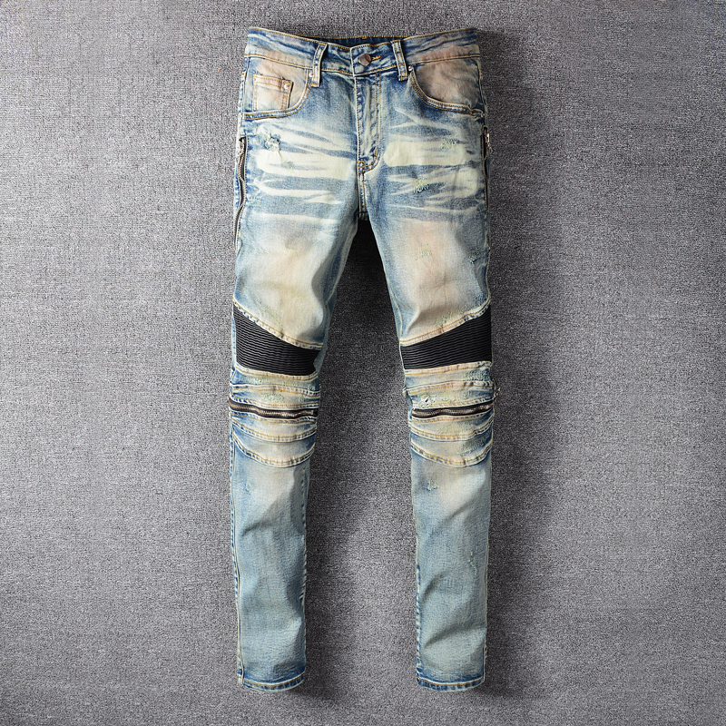 Fashion Streetwear Men Jeans Retro Blue Wash Zipper Spliced Elastic Hip Hop Jeans Men Cargo Pants Slim Fit Biker Jeans Homme