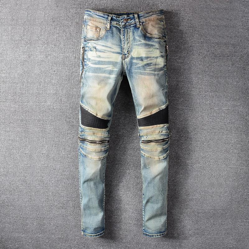 Fashion Streetwear Men Jeans Retro Blue Wash Zipper Spliced Elastic Hip Hop Jeans Men Cargo Pants Slim Fit Biker Jeans Homme