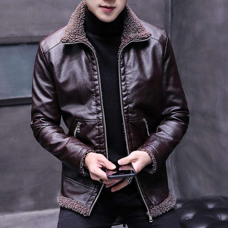 New Autumn Winter Men Leather Jacket Fur Collar Plus Velvet Thick Warm Zipper Jacket Men Black Brown Mens Fit Slim Coats  MY158