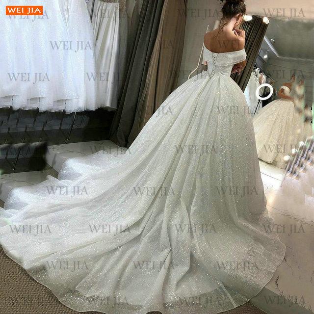 Shiny White Wedding Dresses Lace Up Reflective 2021 Vestido De Noiva Off Shoulder Women Bridal Gowns Customized Suknia Slubna 2