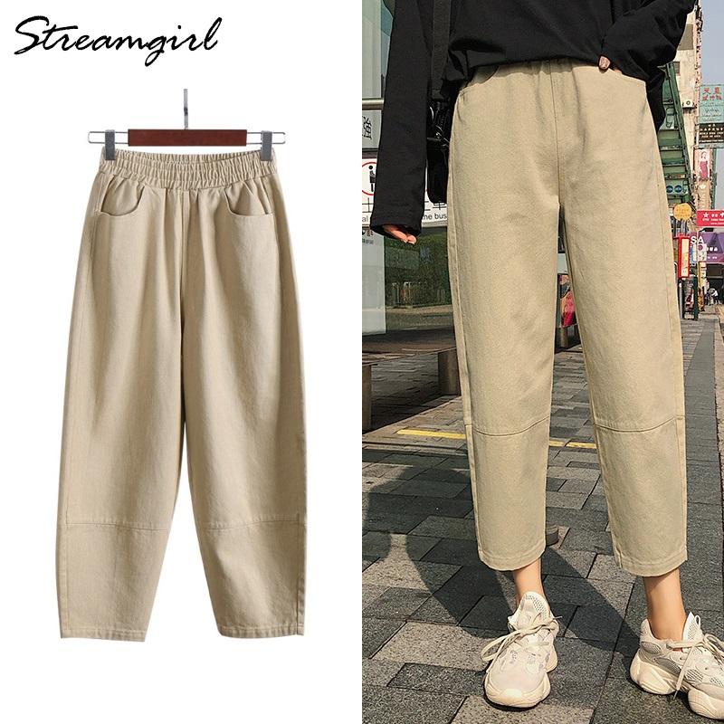Loose Cargo Pants For Women Summer High Waist Elastic Pants Boyfriend Sweatpants Women's Trousers Plus Size Capris For Women