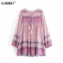 Vintage chic women pink floral print long sleeve tassel ruffles beach Bohemian mini dresses Ladies loose v neck rayon Boho dress