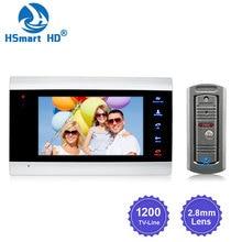 """7 """"بوصة LCD جرس باب يتضمن شاشة عرض فيديو مراقب إنترفون 1200TVL في الهواء الطلق كاميرا IP65 باب الهاتف للرؤية الليلية فتح نظام اتصال داخلي SD سجل"""