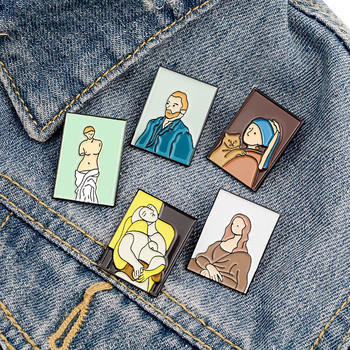 Fashion Arist Oil Painting Serise Pins Van Gogh Mona Lisa Enamel Brooch Badge Accessories For Bags Hats Backpack Gift Toys image