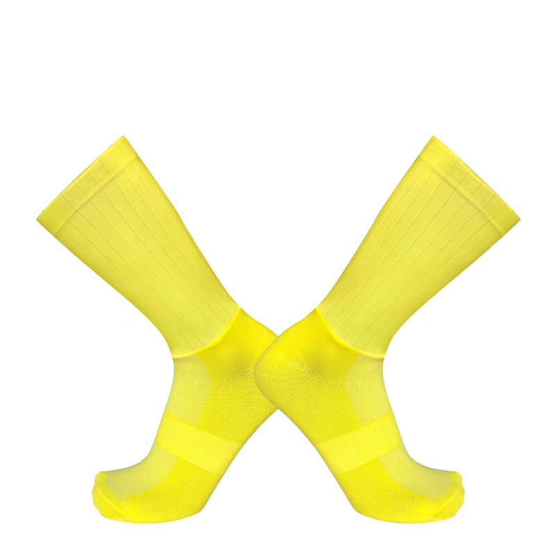 Yellow Anti Slip Seamless Silicone Cycling Socks Integral Moulding High-tech  Bicycle Running Sport Pro Team Aero Socks Bike