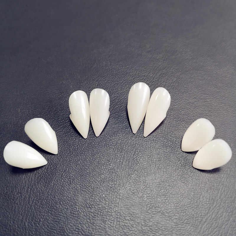 4 גודל ערפד שיניים ניבים שיניים תותבות אבזרי ליל כל הקדושים תלבושות אבזרי מפלגה טובות חג DIY קישוטי אימה למבוגרים לילדים