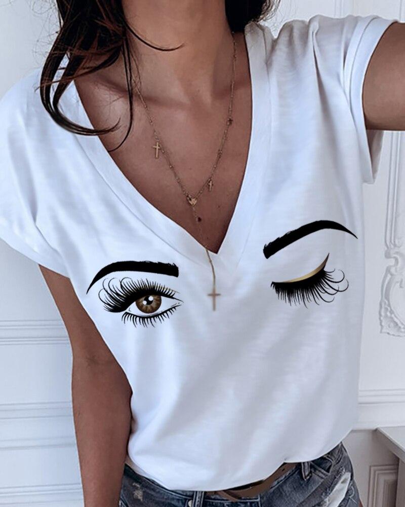 2020 Women Elegant Fashion Sexy V Neck Stylish Eyes Print V-neck Short Sleeve T-shirt Short Sleeve Female T-shirt Casual