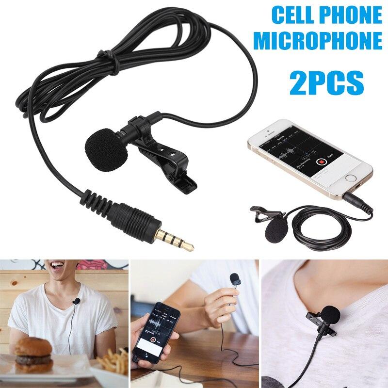 2pcs 3.5mm Clip-on Lapel Mini Lavalier Mic Microphone For Mobile Phone PC Recording SAL99