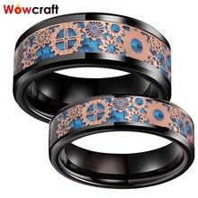 6 мм 8 мм черные обручальные кольца из карбида вольфрама для мужчин и женщин мужские шестерни из розового золота синие Углеродные волокна инкрустация полированная удобная посадка