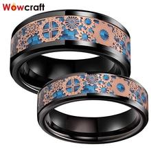 6Mm 8Mm Zwart Wedding Bands Tungsten Carbide Ringen Voor Mannen Vrouwen Rose Gold Versnellingen Blauw Carbon Fiber Inlay gepolijst Comfort Fit