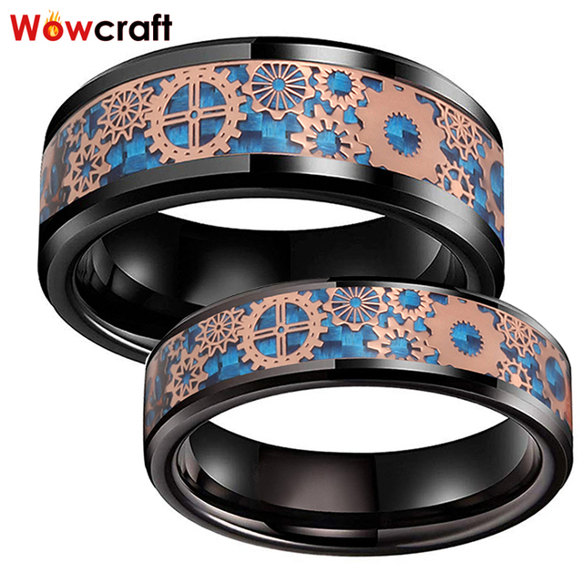 6mm 8mm Black Wedding Bands Tungsten Carbide Rings for Men Women Rose Gold Gears Blue Carbon Fiber Inlay Polished Comfort Fit