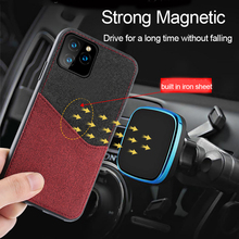 Fabric stitch Magnetic case For Iphone 11 pro max card slot shockproof back cover iphone xr xs 7 8 coque fundas
