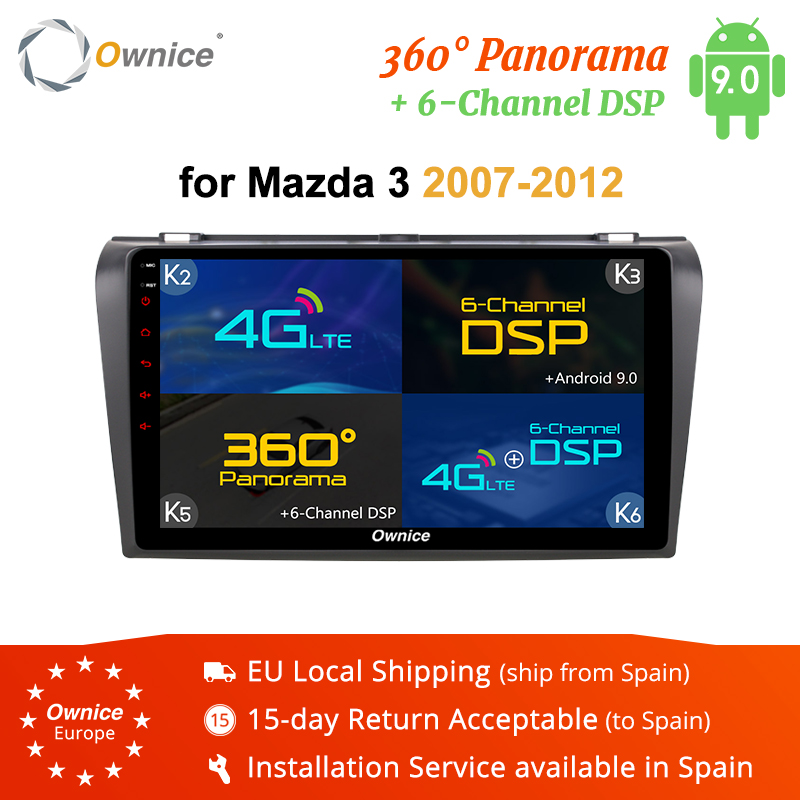 Ownice K3 K5 K6 2 DIN Android 9.0 360 Panorama DSP 4G LTE Car DVD Player for <font><b>Mazda</b></font> <font><b>3</b></font> <font><b>2007</b></font> - 2012 GPS Navi <font><b>Radio</b></font> Vedio 2G RAM image