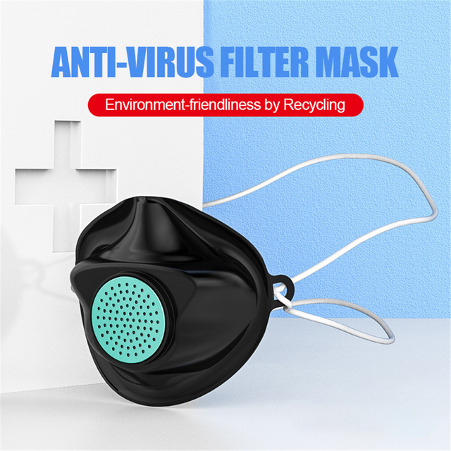 Anti Dust flu Washable Earloop Masks  TPE Protective Silicone Mask Face Mouth Protect with Filter Element No Disposable 1
