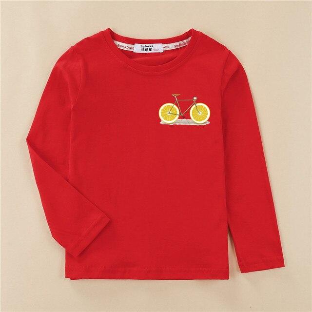 Funny Lemon Bike Kids Tees Long Sleeve Autumn Clothing Boy Cotton T-shirt Fashion Home Tops Girl Fruit Design Print Shirt 3