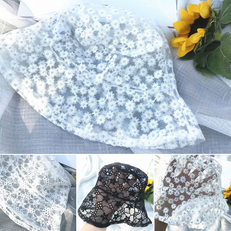 Women Fashion Lace Sun Hat Bucket Hollow Out Cap Mesh BreathableSun Protect Hat Cap Beach Casual Ladies Summer Hat