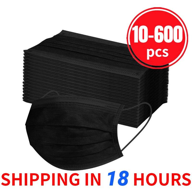 10/20/30/50/100/200/400/500/600 pces máscara protetora descartável preta do laço da orelha 3ply adulto máscara não tecida ajustável mascarillas