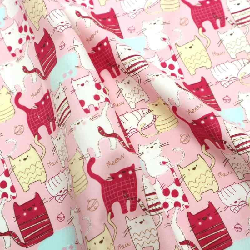 Pół jarda cienka bawełna tkanina z uroczy nadruk kota, handmade DIY torba ubranie dzieci materiał tkanina CR-366