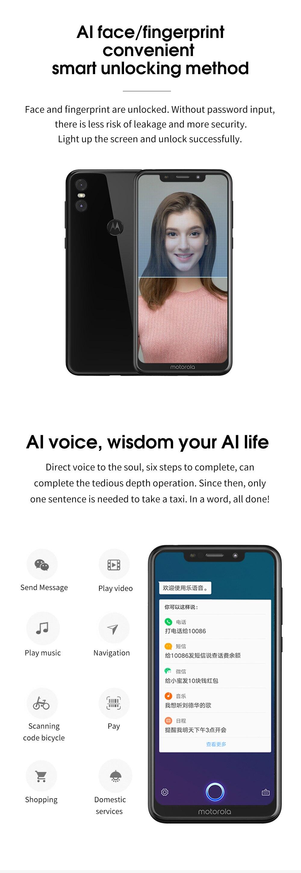 H80a69bf62b6f417a8c157169fb4d4057N Moto One Mobile Phone 4GB 64GB AI Camera Smartphone 2.5D Double-sided Glass Body Octa Core Phone Support Face Fingerprint Unlock