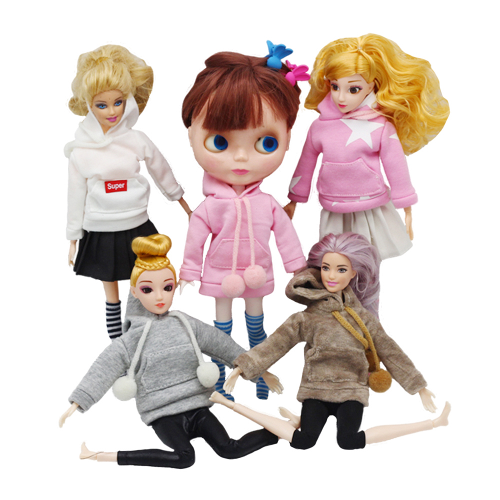 Fashion Doll Clothes Sweatshirt Coat For Barbies Doll Clothes Doll Outfits Pants Canvas Shoes 1/6 Blythes Dolls Accessories