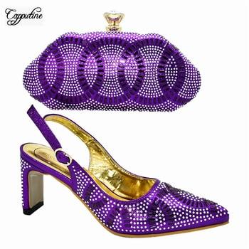 Fashion purple high heel spring/autumn sandal shoes and handbag set for wedding/party 777-1, heel height 11.5cm