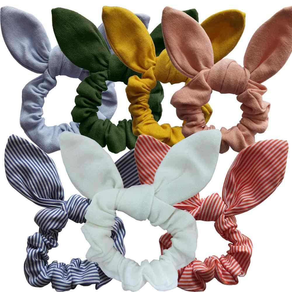 สาว/ผู้หญิงอุปกรณ์เสริมผมกระต่ายหูผมวงกระต่ายหูผมโบว์ Tie Scrunchie ผู้ถือหางม้าผมยืดหยุ่นแถบ