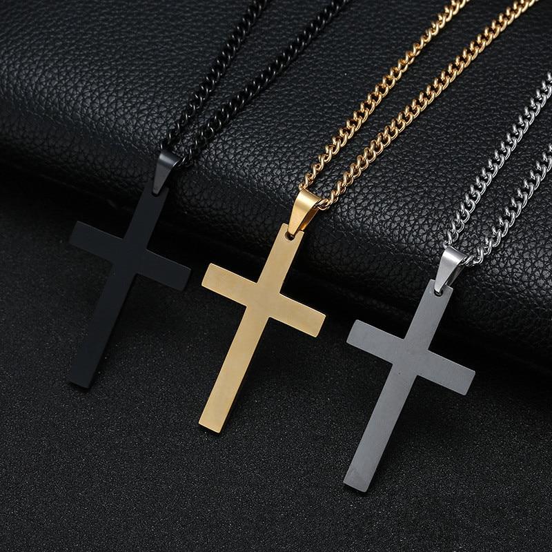 Christian Jesus Single Titanium Cross Necklaces Pendants Women Stainless Steel Gold Black Color Prayer Choker Men Jewelry