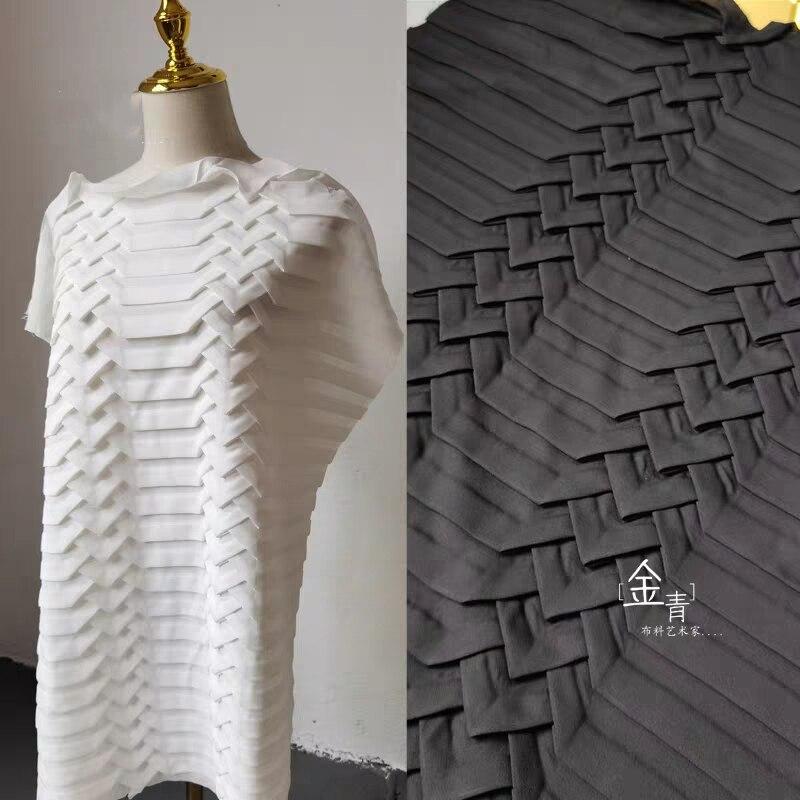 Pleated Chiffon Fabric Black White Triangle Texture Folds DIY Patchwrok Decor Skirt Shirt Dress Clothes Designer Fabric
