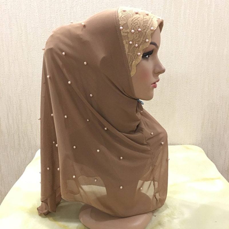Muslim Women Instand Hijab With Pearls Headscarf Ready To Wear Headwraps Malaysia Hijabs Femme Musuman Full Cover Underscarf
