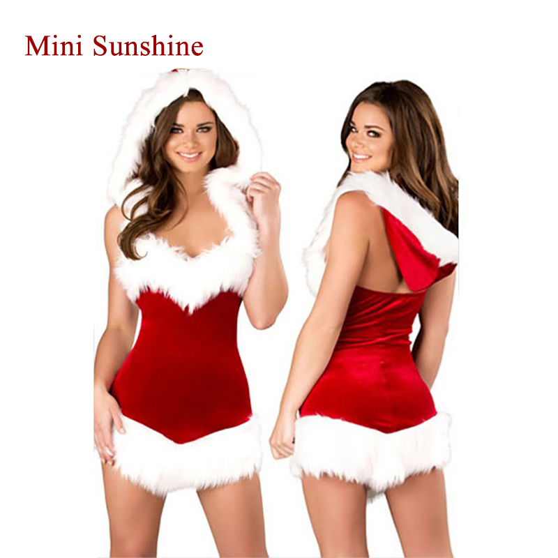 Fashion Adults Women Slim Fit Sexy Christmas Suit Costumes Adult Women Santa Claus Cosplay Christmas Party Fancy Dress Z15