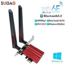 3000mbps wifi6e intel ax210 bluetooth 5.2 banda dupla 2.4g/5ghz wifi cartão 802. 11ax/ac pci express placa de rede sem fio adaptador pc