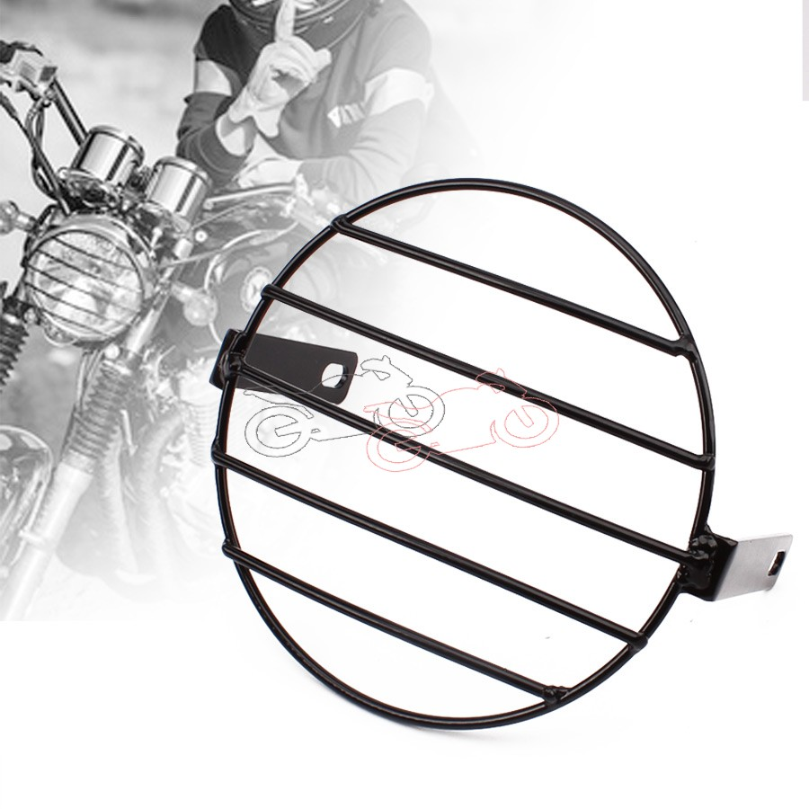 Motorcycle Vintage Old School Metal Grill Side Mount Headlight Cover Mask 7.4