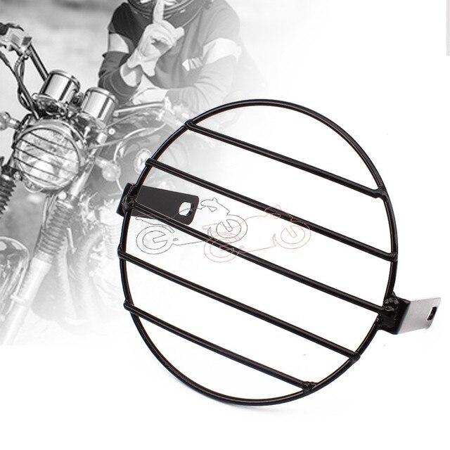"Motorcycle Vintage Old School Metal Grill Side Mount Headlight Cover Mask 7.4"" Universal Fit For Honda Yamaha Kawasaki Chopper"