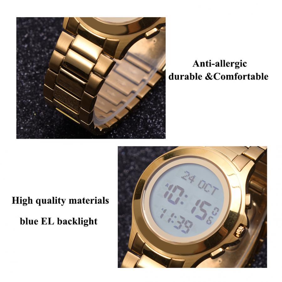 Muslim Watch Steel Waterproof Worship Prayer Wristwatch with Blue EL Backlight Religious Supplies